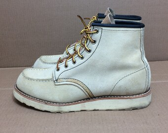 vintage Red Wing work boots size 8.5 ankle boots hook lace made in USA off white tan barely used condition