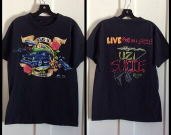 1990s Guns -n- Roses Uzi Suicide Records T-shirt Size Large Pistols Car 1993