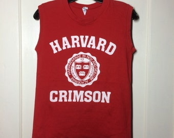 Vintage 1980's Harvard Crimson team muscle tee t-shirt looks size XS 16x23 college school emblem Bike brand all cotton red