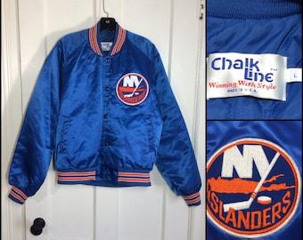 1980's New York Islanders hockey team NHL sports Chalk Line quilted bomber Jacket size large blue orange