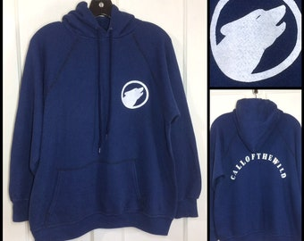 1980's Call of the Wild wolf wolves soft hoodie pullover sweatshirt looks size large 22x23 nature hiking camping woodsy dark blue