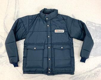 1980s BF Goodrich tires work puffer coat size medium by Swingster made in USA dark blue mechanic race car gear head car club trucker jacket