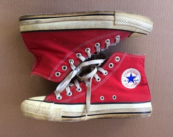 1980s red Converse Allstars size 9 made in USA Chuck Taylors Chucks hi tops canvas sneakers kicks shoes punk skate paint