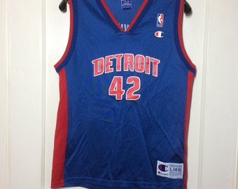 1990's Detroit Pistons Jerry Stackhouse #42 Basketball team Champion Jersey blue Tank size youth 14-16 NBA number 42 #2