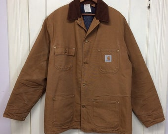 1980s Carhartt blanket lined heavy duty canvas duck cloth chore jacket size 44 tall made in USA