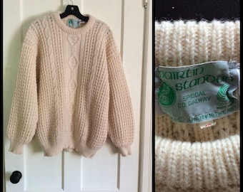 Vintag 1980's Irish Pure New Wool Fisherman Sweater size 42 Mairtin Stanoun Aran Knitwear