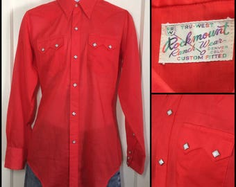 1970's semi-sheer Bright Red Cowboy Western snap Shirt looks size Small Custom Fitted by Rockmount diamond snaps