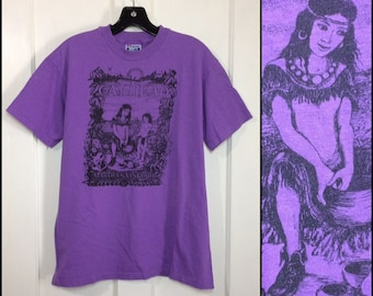 1980s Gay Head Martha's Vineyard purple cotton t-shirt size large 20x25.5 Wampanoag native Americans nature scene animals birds nature beach