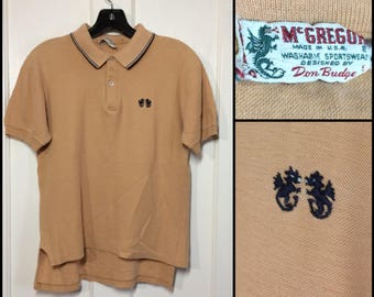1950's cotton McGregor black embroidered dragons polo shirt with striped collar tan beige size small 19x20-24 rockabilly preppy punk