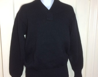 1940s WWII Military thick chunky wool Sweater looks size Large low gauge knit V-neck pullover long cuffs very dark Navy Blue black WW2
