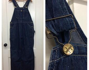 1950s indigo blue denim Sanforized overalls size 38x28 donut hole buttons farmer workwear