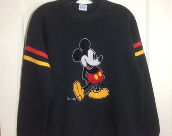 1980's Mickey Mouse Black striped pullover Sweatshirt with fuzzy Flock print size Large Disney Character Fashions made in USA #1