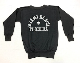 deadstock 1960s Miami Beach Florida sweatshirt looks size small black with white flocked fuzzy print long cuffs palm trees NOS