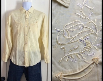 1950's Vintage Mens Pistol and Cowboy Hat Embroidered Western Shirt size 16 Medium H Bar C Ranch Wear