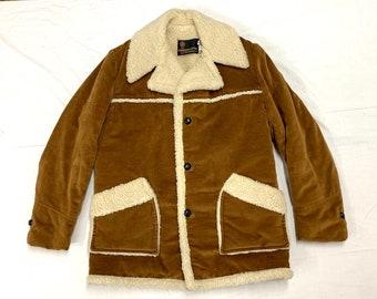 1970s fleece lined winter coat jacket size 40 by Anderson Little light brown velour