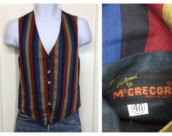 1950s McGregor reversible vest blue red yellow striped  and solid black sides size 40 medium formal dandy carnival gypsy boho
