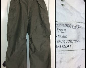 1950s M-51 Korean War US Military 6 pocket field trousers type 2 size Short Medium up to 34x25 green wind resistant 9 oz. cotton sateen #115