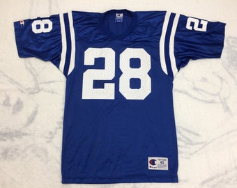 1990s NFL Indianapolis Colts football jersey number 28 Marshall Faulk size 40 Champion brand made in USA throwback tailgate party