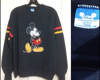 1980's Mickey Mouse Black striped pullover Sweatshirt with fuzzy Flock print size Large Disney Character Fashions made in USA #2
