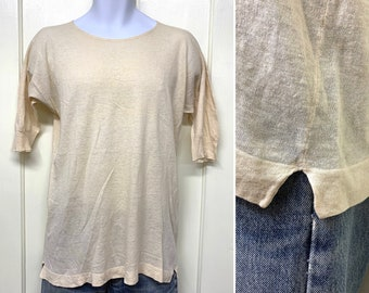 antique early 1900s thin knit undershirt t-shirt looks size S-M 18x26 off white soft wool or wool blend