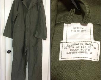 deadstock 1970s US Military coveralls jumpsuit size Medium cotton sateen OG-107 olive green 1972 Mason Hughs #103