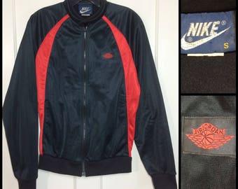 AJ1 1980's 1985 Air Jordan wings basketball warm up jogging jacket size small made in Japan red black AJ-1 blue tag Nike