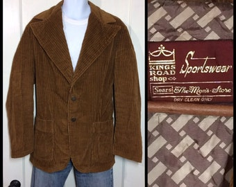 1960s mod Ivy League light brown corduroy blazer size 44 large wide thin wale preppy grunge Sears Mens Store King's Road 2 buttons