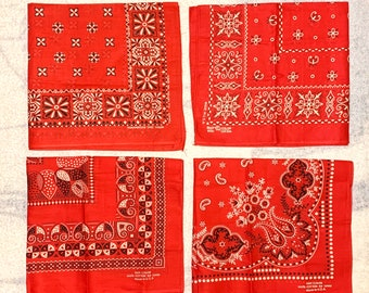 Pick one- deadstock 1950s 1960s Elephant Fast Color Tower red cotton bandana hemmed selvedge made in USA NOS #177-180