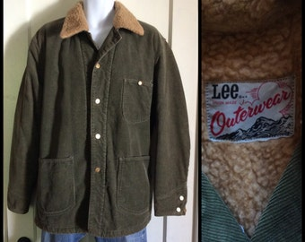 1970s Lee Outerwear fleece lined corduroy chore jacket looks size XXL, 2XL olive green Union Made in USA