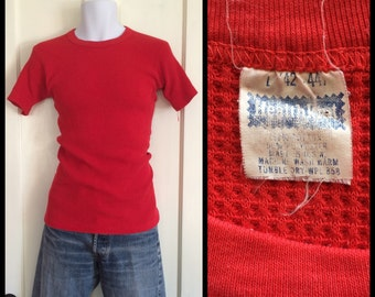 1970s soft Thermal HealthKnit short sleeve Long Johns Undershirt t-shirt size large looks small Waffle Textured Red Color