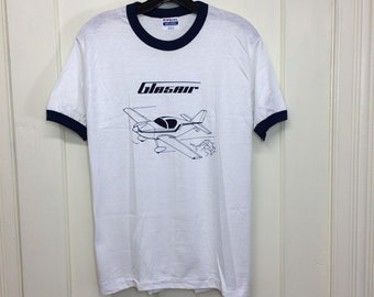 deadstock 1980s Glasair vintage airplane t-shirt size medium 18x25 pilot aircraft blue ringer tee Hanes made in USA NOS