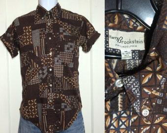 Vintage 1960's Brown Batik Button Down Collar Short Sleeve cotton Shirt size Medium Beach Tiki Beatnik BD