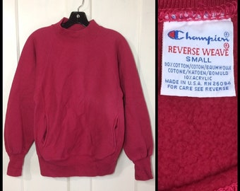 1980s magenta pink Champion Reverse Weave mock turtleneck 2 pocket pullover sweatshirt size small made in USA