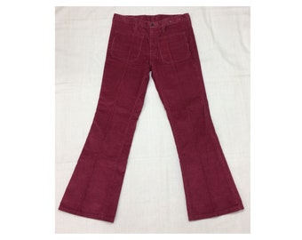 1970s magenta pink corduroy bellbottom pants 31X29 low rise hip hugger bell bottoms flare boho boyfriend jeans Talon zipper patch pockets