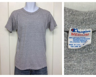 1980s heather gray Champion brand cotton rayon t-shirt size medium cloth tag single stitch made in USA solid blank plain tee