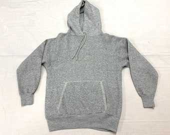 1970s 1980s blank heather gray hoodie sweatshirt tag size medium, looks small 19x22 Downerwear soft in great vintage condition plain