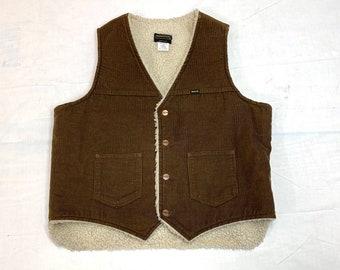 1970s 1980s Maverick fleece lined brown corduroy winter vest size XL workwear trucker sherpa
