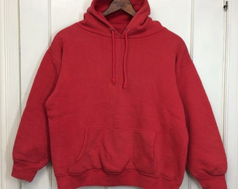 1960s double thick thermal lined hoody pullover sweatshirt looks size medium short distressed faded red cotton