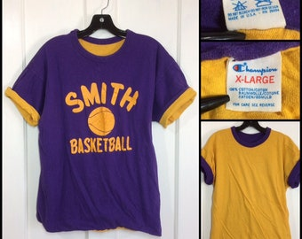 1980s Smith College Basketball team reversible Champion brand t-shirt size XL 21x24 all cotton purple yellow Ivy League sports made in USA