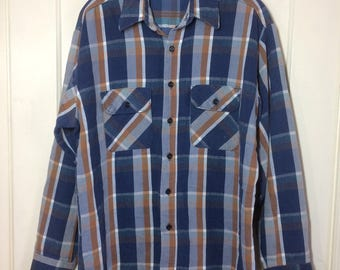 1970's 5 Brother Heavy Flannel Plaid Shirt size Large Blue Gray brown white grunge punk skate