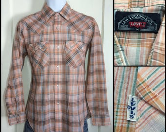 1970's Levi's big E Peach Orange turquoise green Blue Brown Plaid cowboy snap Shirt size Medium White Tab light weight permanent press
