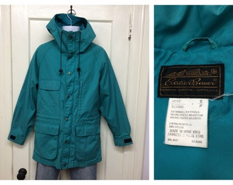 1980s turquoise Eddie Bauer mountain parka size small camping hiking skiing outdoors