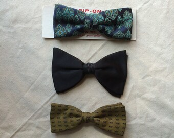 Pick one- vintage Clip On Bowties 1950's Black Turquoise Gold Yellow bowtie