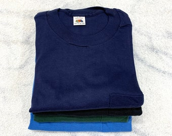 Pick One- deadstock 1960s Fruit of the Loom pocket tee plain blank t-shirt size medium cotton single stitch made in USA square pocket NOS