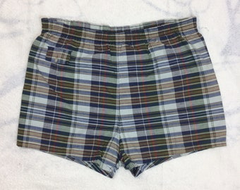 1950s blue plaid surfer swimsuit swim trunks size large short shorts cotton beach preppy ivy league