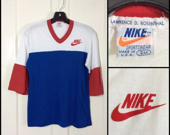 1970's Nike velvet flock Swoosh Color Block Red White Blue 3/4 length sleeves V-neck ringer baseball style T-shirt Orange Tag Small 18x25