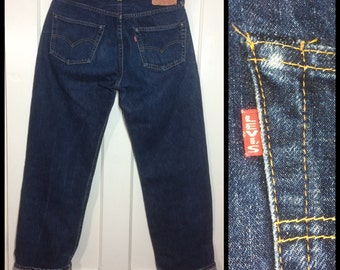 LVC 1990's does 1950's dark Indigo Blue denim 501XX Levi's Jeans 34x36 measures 30x32.5 Big E redline single stitch hidden rivets USA #264