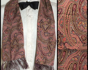 1930's 1940's Formal Crepe Rayon Paisley ascot cravat Opera scarf Burgundy Red Yellow fringe 41x8.75