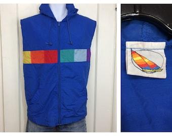 1980s OP Ocean Pacific sleeveless warm up hoodie nylon windbreaker jacket size XL rainbow color block windsurfer tag surfer beach