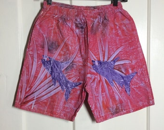 Vintage 1980's hand printed Tropical Fish cotton Surf Board Shorts drawstring Swim Trunks size Medium Sunset colors orange pink purple